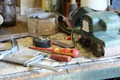 tools on the workbench - stock photo