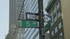 5th Avenue signpost in New York City - stock footage