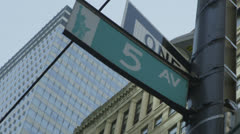 5th Avenue signpost in New York City Stock Footage