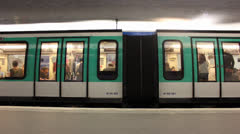 Time lapse of trains in metro station Paris Stock Footage