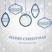 Joulu vektori asettaa kuusen ja illalla pallot, uusi vuosi kello ja juhla Piirros