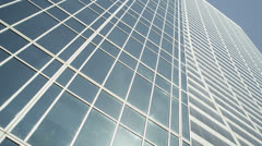 Low angle view looking upwards at New York skyscrapers - stock footage