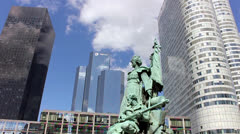 Monument in the financial district of Paris France Stock Footage