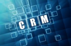 Crm in blue glass cubes Stock Illustration
