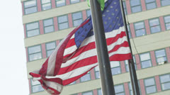 American flag flying in New York City Stock Footage