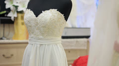 Wedding Dresses In Boutique. Dolly Shot. Stock Footage