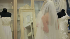 Fiancee Tries On Veil - stock footage