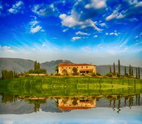 Italian landscape. tuscany fields and meadows in spring season Stock Photos