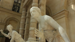 Sculptures in the Louvre Museum Stock Footage