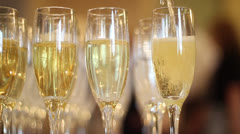 Champagne glass fill Stock Footage
