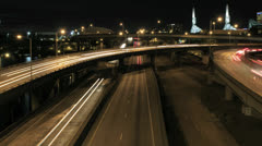 Traffic on Highways Time Lapse in Downtown Portland OR at Night Stock Footage