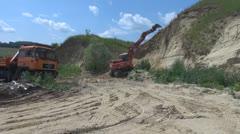 Excavator working. Arm of excavator. Excavator digging. Stock Footage