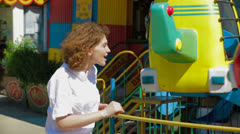 Mommy At Carousel - stock footage