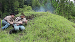 Civil War Artillery Strike Confederate soldiers in trench Stock Footage