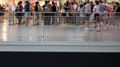 Crowd of people at the Pompidou center, Paris Stock Footage
