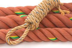 Closeup of manila nylon ropes Stock Photos