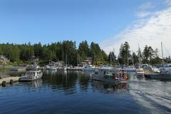 Crab Boat Returning, Lund, BC Stock Photos