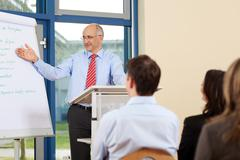 Businessman giving presentation to businesspeople Stock Photos