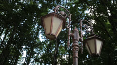 summer_park_old_lamppost - stock footage