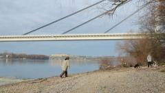 Stroll by the river Stock Footage