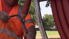 cable tv, construction workers - stock footage
