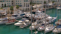 High view of yachts Queensway Quay Marina, Gibraltar, Stock Footage