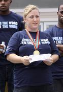Stock Photo of special olympic champion deborah.'spread the word to end the word' for the sp