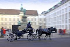Horse-driven carriage at Hofburg palace in Vienna - stock photo