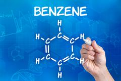 Hand with pen drawing the chemical formula of benzene Stock Photos