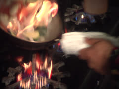 Flaming vegetable medley toss series, static Stock Footage