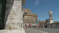 Castle St Angelo, Rome 6 (slomo dolly) Stock Footage