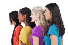 Diverse young women looking in the same direction - stock photo