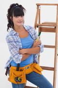 Young woman ready for home improvement Stock Photos