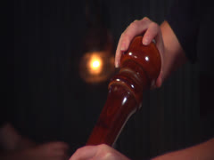 Pepper grinder in action, static Stock Footage