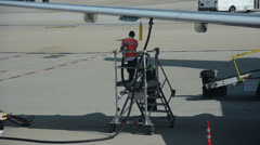 jet airplane refiueling - stock footage