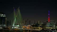 4K UHD Ponte Estaiada bridge built over the Pinheiros River Sao Paulo Stock Footage