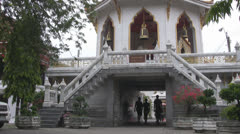 Walking Under Bells at Wat Chanasongkram p265 Stock Footage