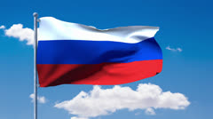 Russian flag waving over a blue cloudy sky Stock Footage
