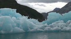Greenland ice fjord blue iceberg Stock Footage