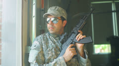 military merc mercenary guard blackwater - stock footage