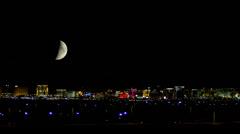 Vegas Skyline at Night with Moon - stock footage