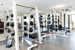 Weights in a gym Stock Photos