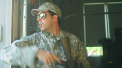 soldier military guy giving orders - stock footage