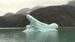 Greenland ice fjord ship-shaped berg s61 Stock Footage