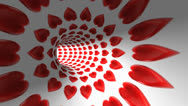 Stock Video Footage of flying in red heart pattern tunnel hole.