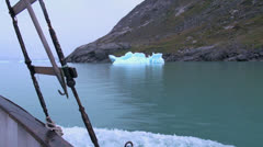Greenland ice fjord berg on shore s78 Stock Footage