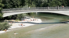 Isar, Munich, Germany Stock Footage