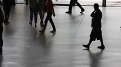 Silhouette of people walking in the Centre Georges Pompidou Stock Footage