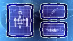 Blueprint of a futuristic spaceship seamless loop Stock Footage