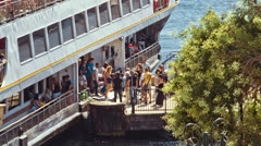 Ferry Dropping off Passengers Stock Footage